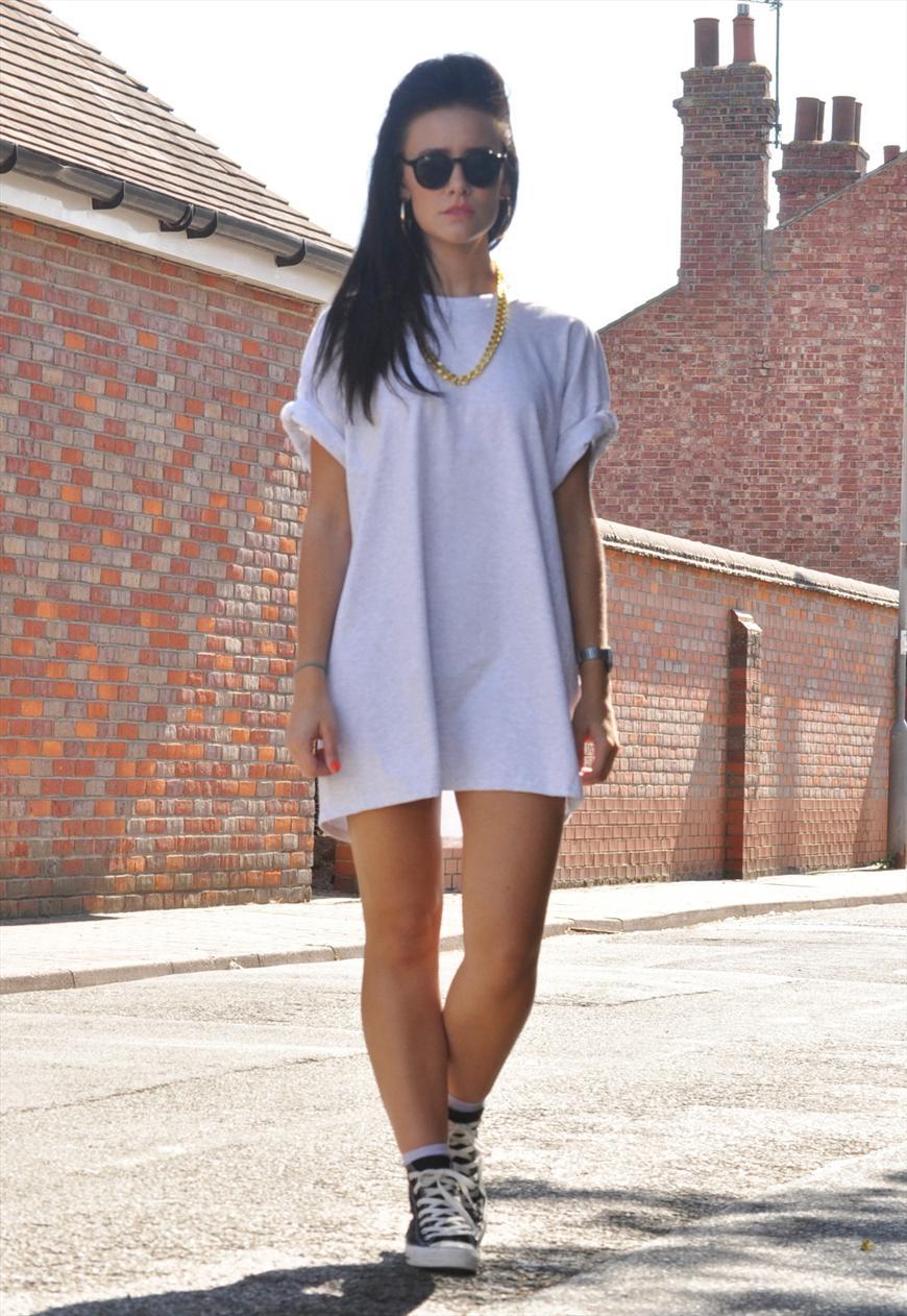 Oversize Grey Ash Oversized T Shirt Dress Top 2994 3421 P Hostel