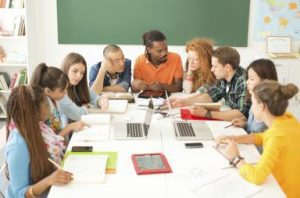 College students in a classroom.