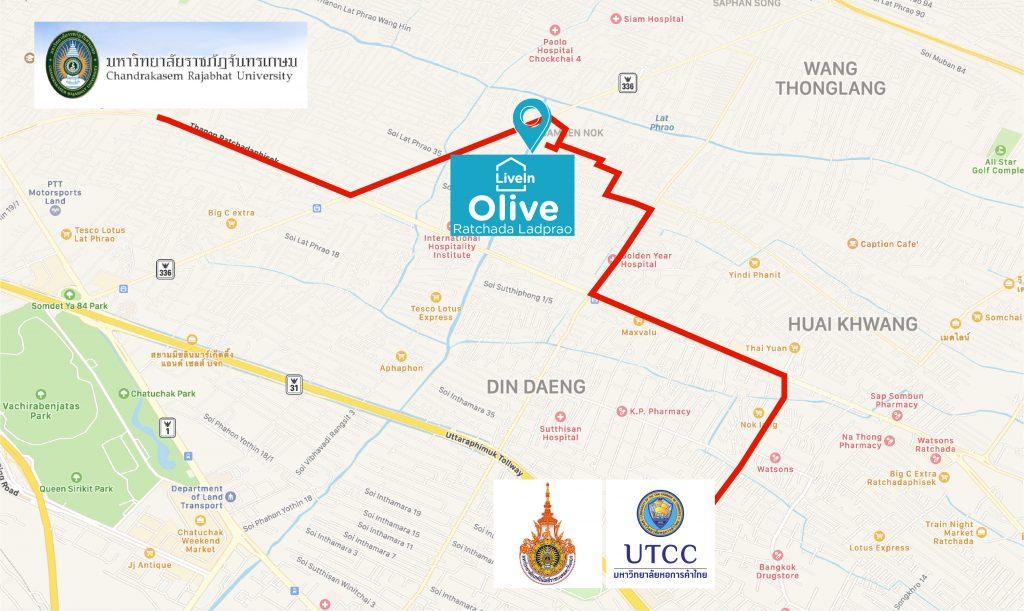 LiveIn @ Olive Ratchada Ladprao อยู่ที่นี่ ไปไหนได้บ้าง?